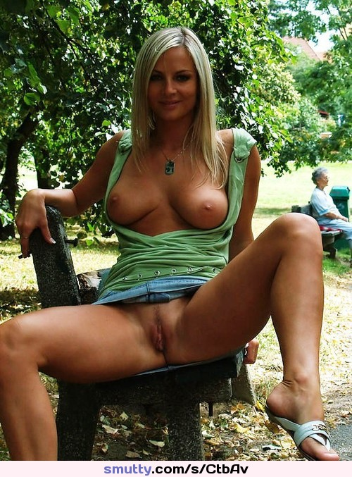 Outdoor big boobs housewife blonde