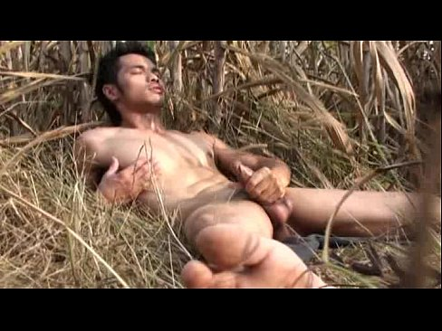 outdoor Asian shaved wanking