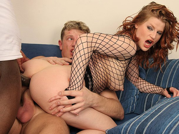 messy fishnet Sexy double blowjob