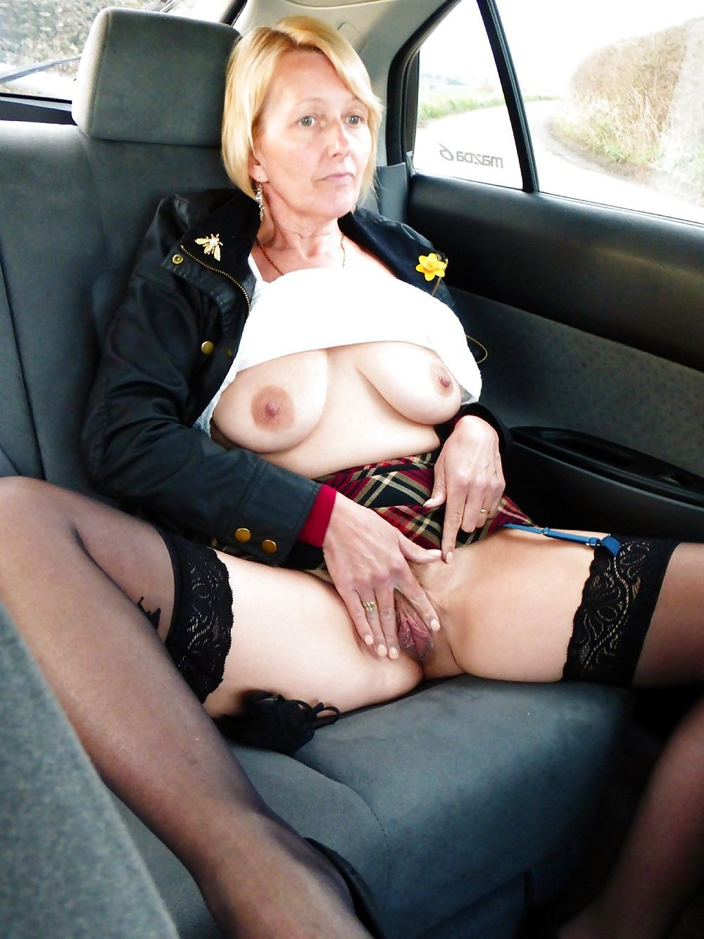 grannies stockings outdoor Amateur